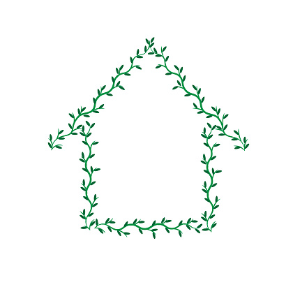 Green house made of branches with leaves isolated white background. Ecology nature home concept. Natural template. Copy space. Poster design. Summer banner. Building sign or logo. Housing development.