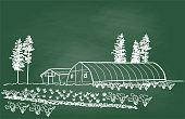 istock Green Houses Chalkboard 1204924294