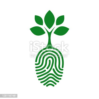 Green human finger print with tree icon isolated. Fingerprint concept nature connection - stock vector