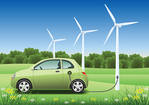 Green hybrid car charging with a wind generator