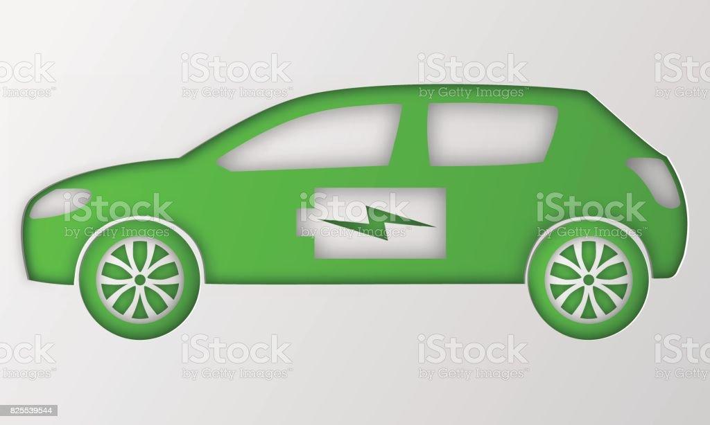 De Voiture Hybride Verte Origami Papier Dart électrique Alimenté Environnement Véhicule Automobile De Contour Avec La Charge De La Batterie