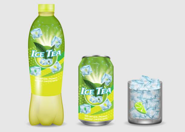 illustrazioni stock, clip art, cartoni animati e icone di tendenza di green iced tea package mockup set, vector realistic illustration - bottle soft drink
