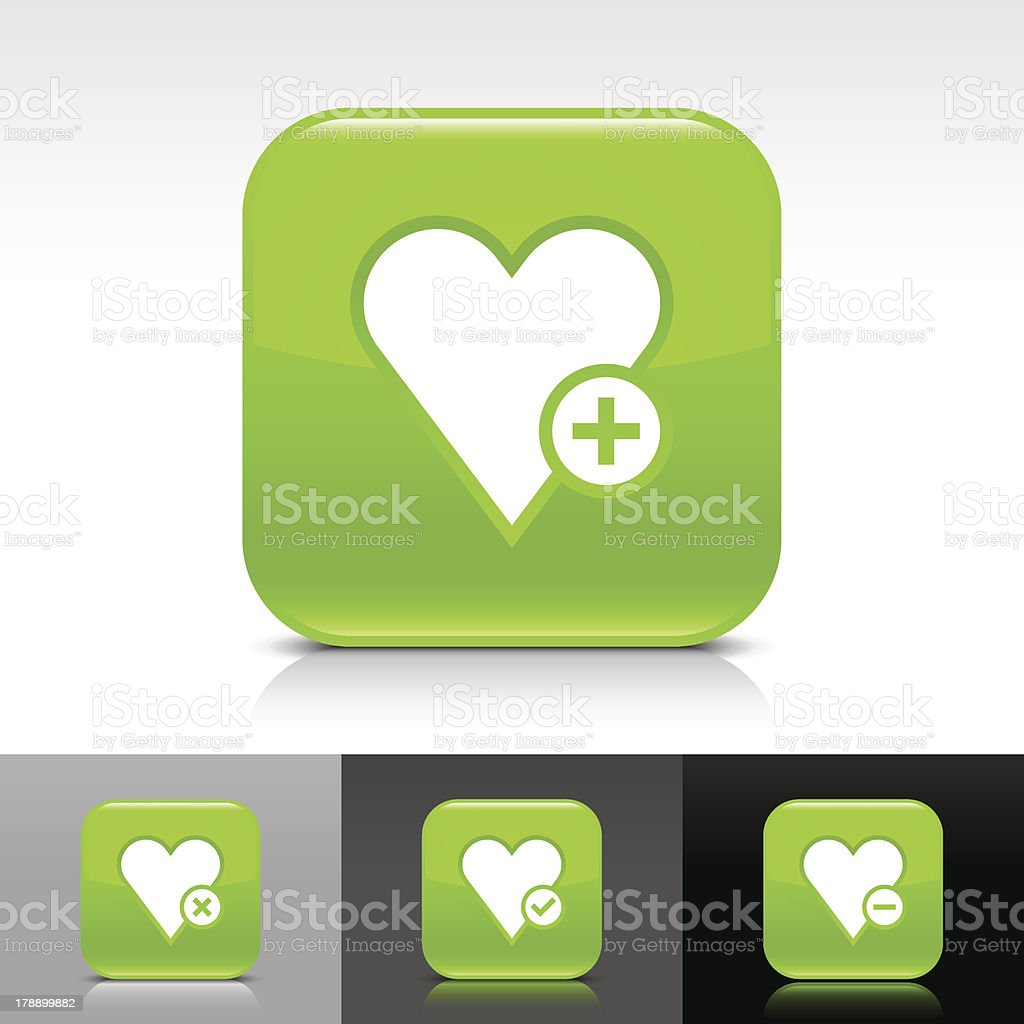 Green icon heart favorites sign glossy rounded square web button royalty-free stock vector art