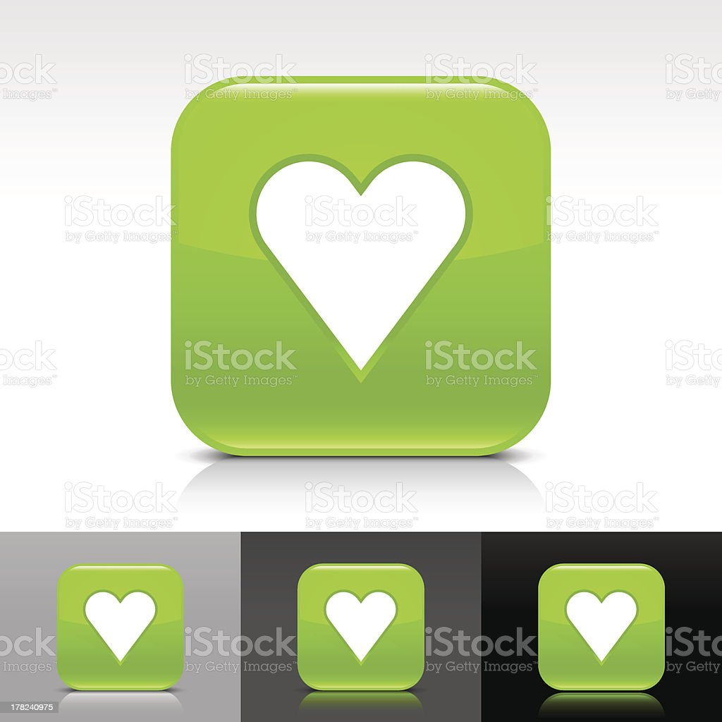 Green icon heart sign glossy rounded square internet button royalty-free stock vector art