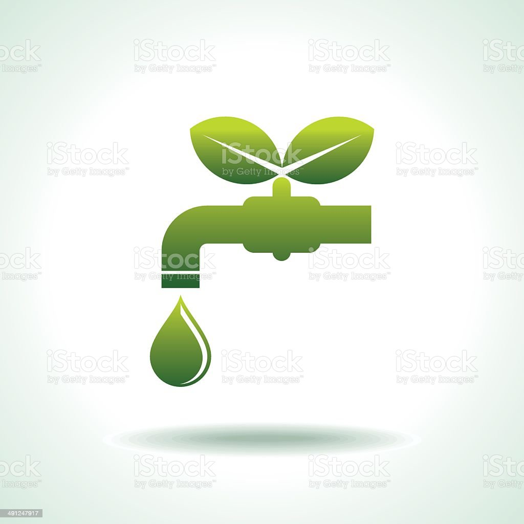 green Icon save environment and water vector art illustration