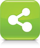 Green icon share sign glossy rounded square web button
