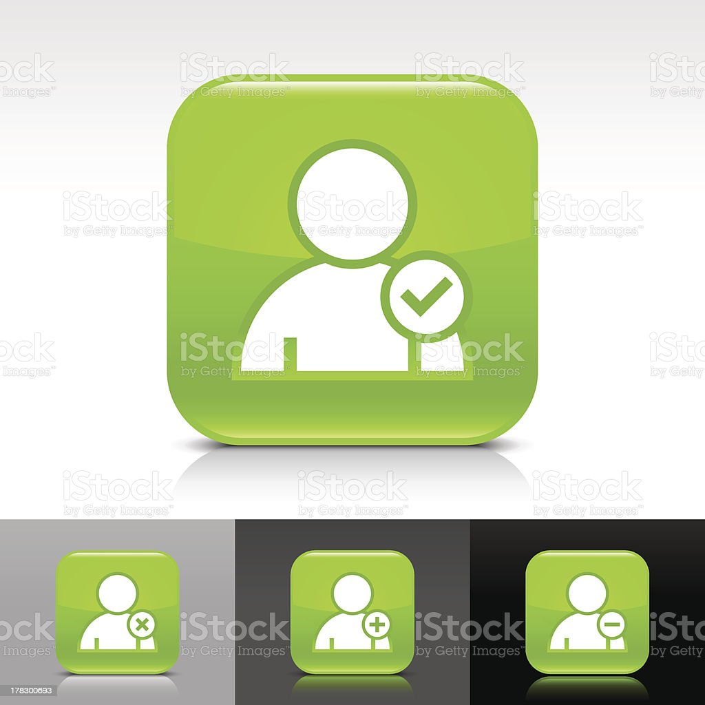 Green icon user sign glossy rounded square web button vector art illustration