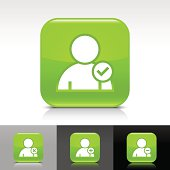 Green icon user sign glossy rounded square web button