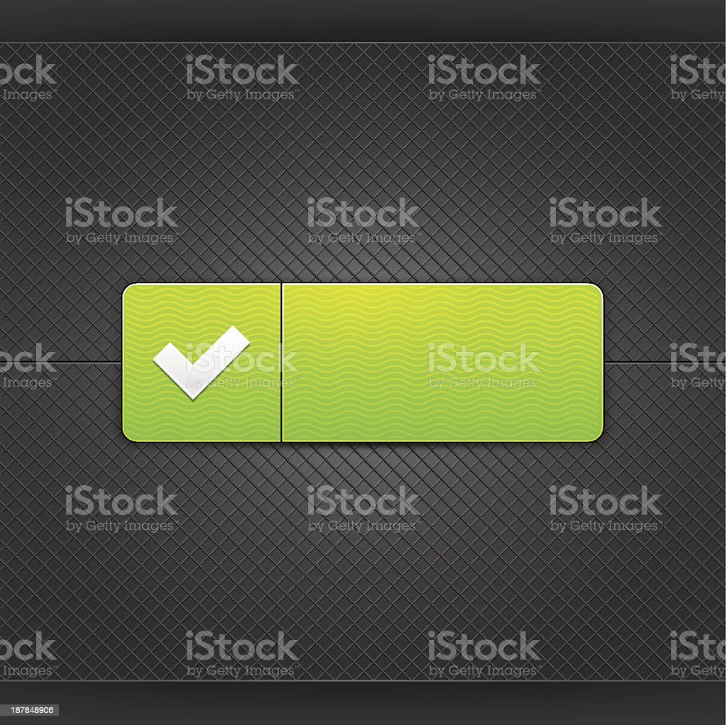 White check mark sign on green rounded rectangle web button. Glowing...