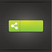 Green icon white share sign web internet button metal texture