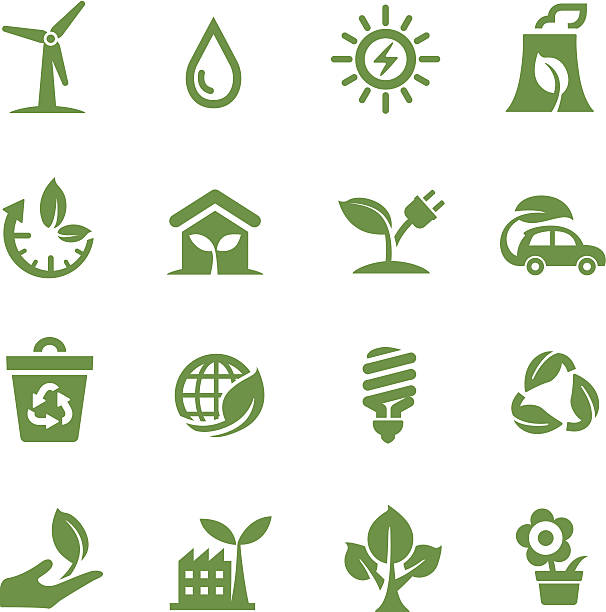 green icons - acme series - energy saving stock illustrations, clip art, cartoons, & icons