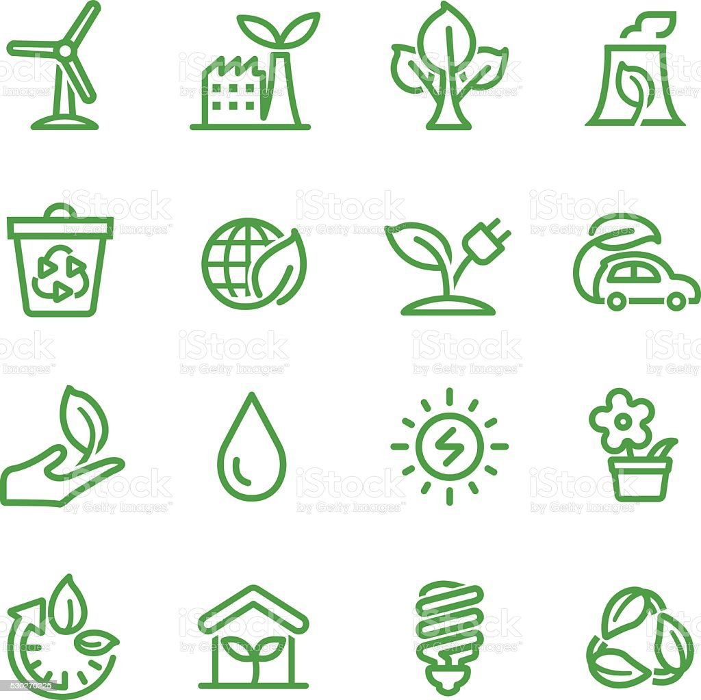 Green Icons - Line Series vector art illustration