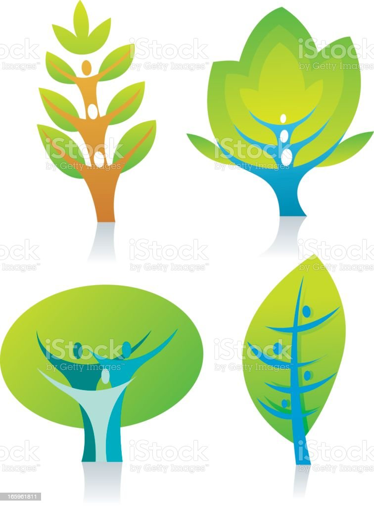 4 green icons showing different leaf patterns royalty-free stock vector art