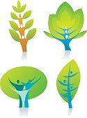 Vector icons of trees including human figures. One of a series