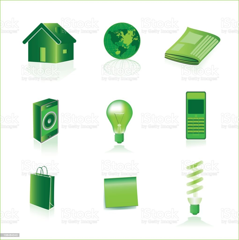 Green icons royalty-free stock vector art