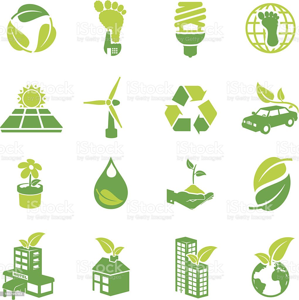 Green Icons vector art illustration