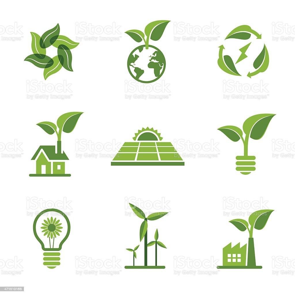 Green Icons vector art illustration