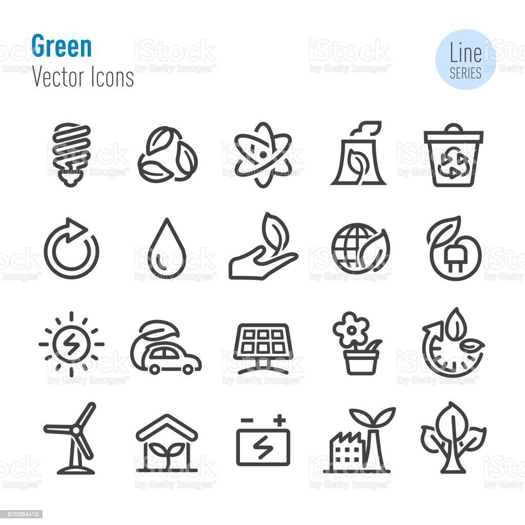 Ícones verdes - vetor linha série - ilustração de arte em vetor