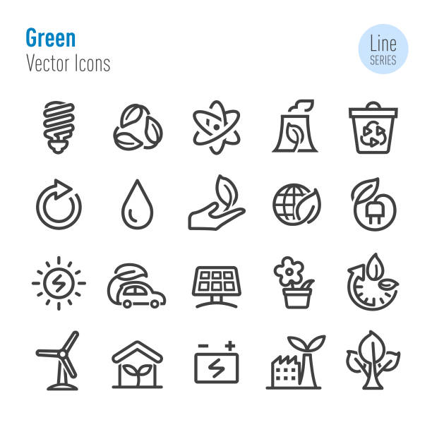 green icons - vector line series - energy saving stock illustrations, clip art, cartoons, & icons