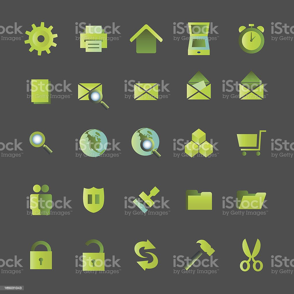 Green Icons - vector royalty-free stock vector art