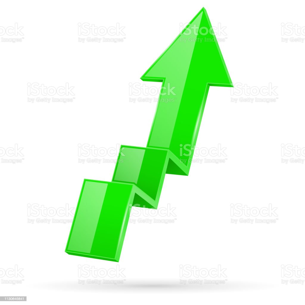 Green indication arrow. Moving up 3d financinal sign. Vector...