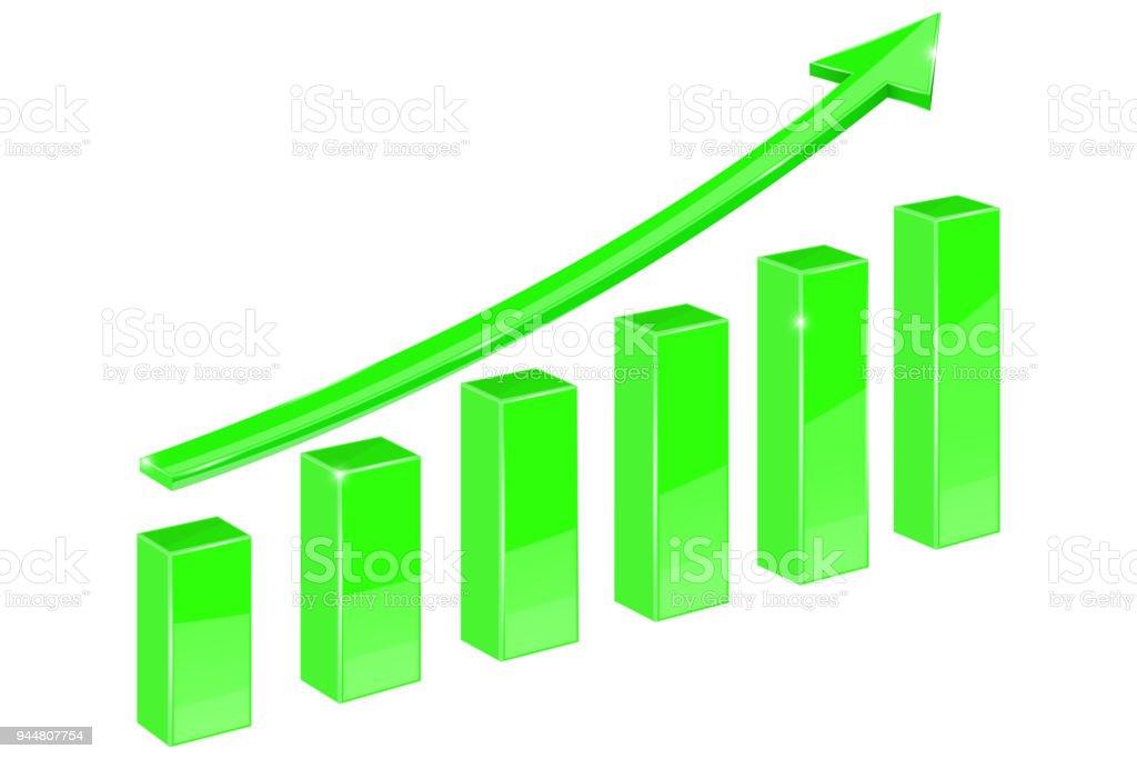 Grüne Anzeige Pfeil. Auf steigende finanzielle graph – Vektorgrafik