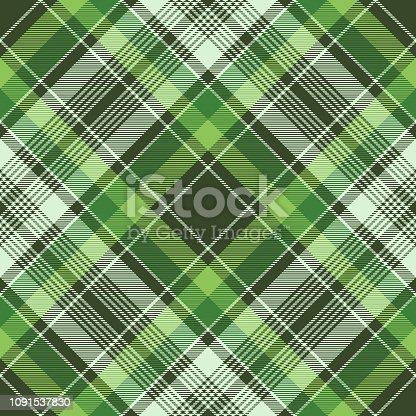 Green irish check fabric plaid seamless fabric texture. Vector illustration.