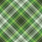 Green irish check fabric plaid seamless fabric texture. Vector illustration.