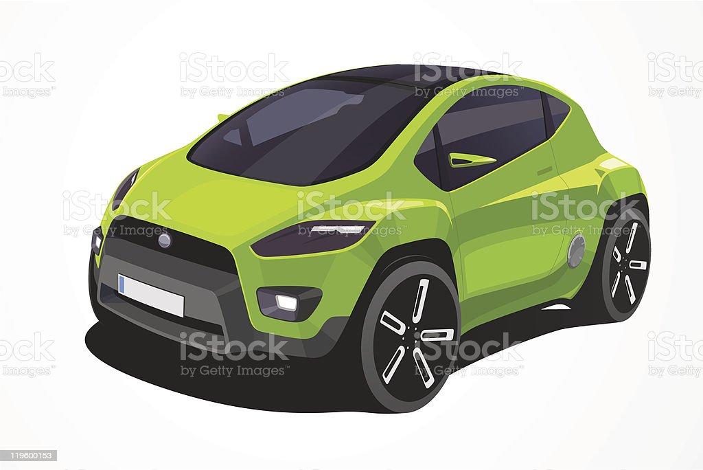 Green Italian Car vector art illustration