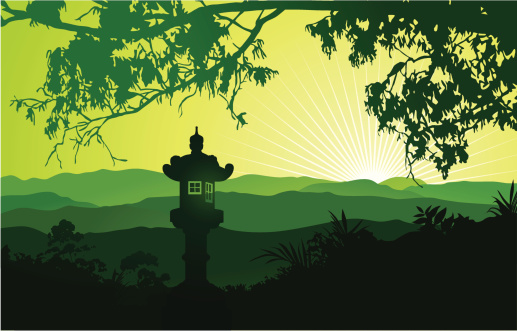 Green Japanese landscape with lantern