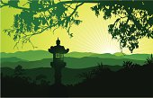 Vector illustration of the japanese landscape with the lantern