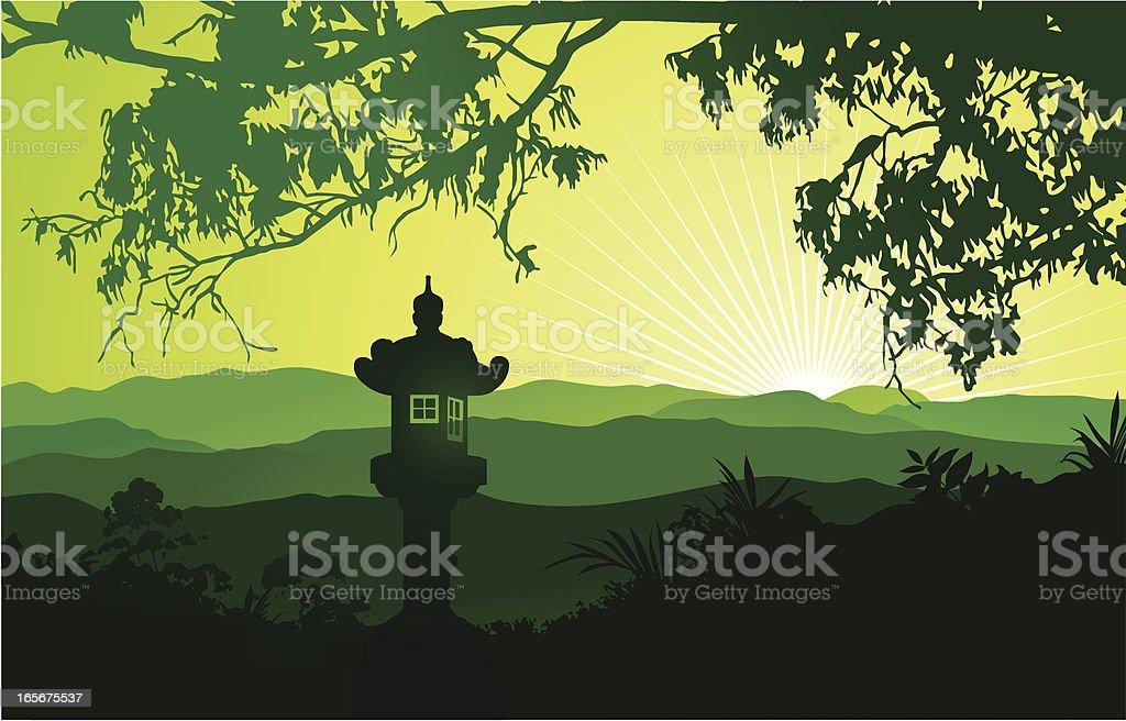 Green Japanese landscape with lantern vector art illustration
