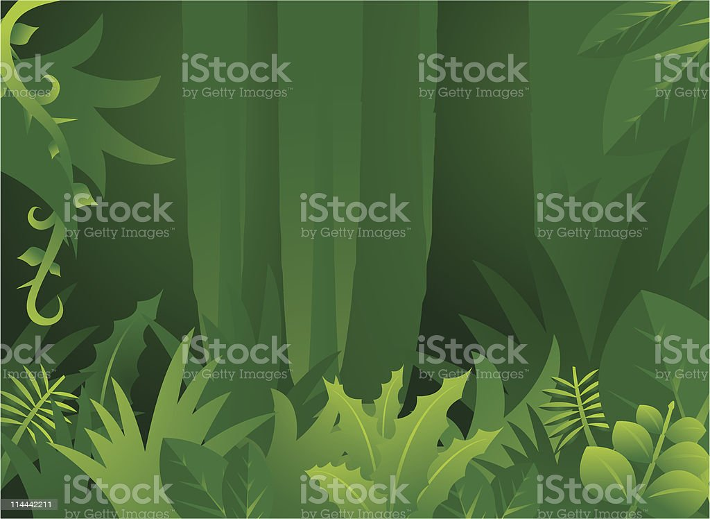 Green jungle background with trees vector art illustration