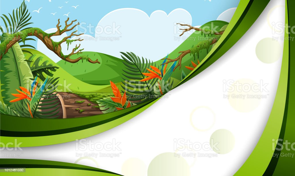 A green jungle template vector art illustration