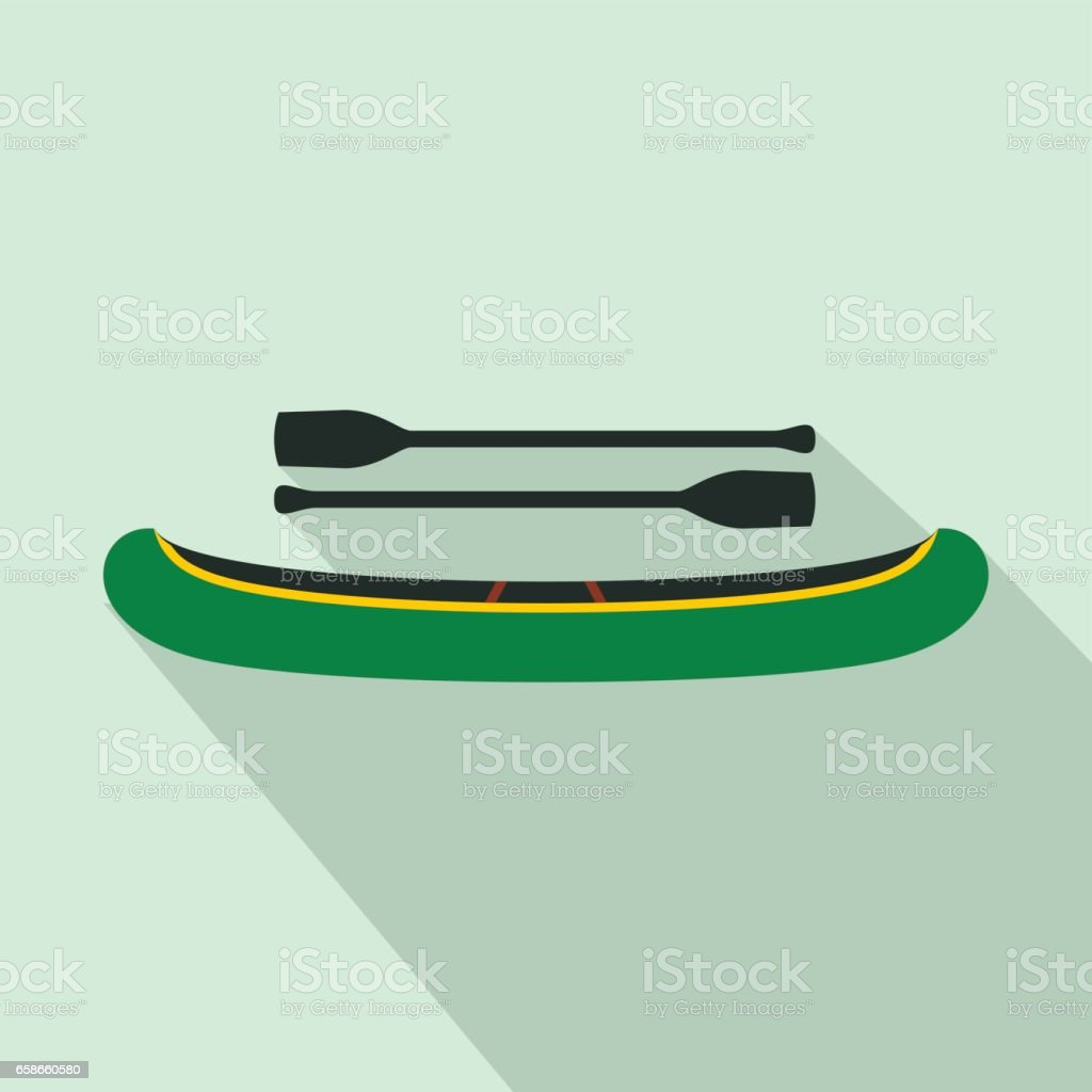 Green kayak with oars icon, flat style vector art illustration