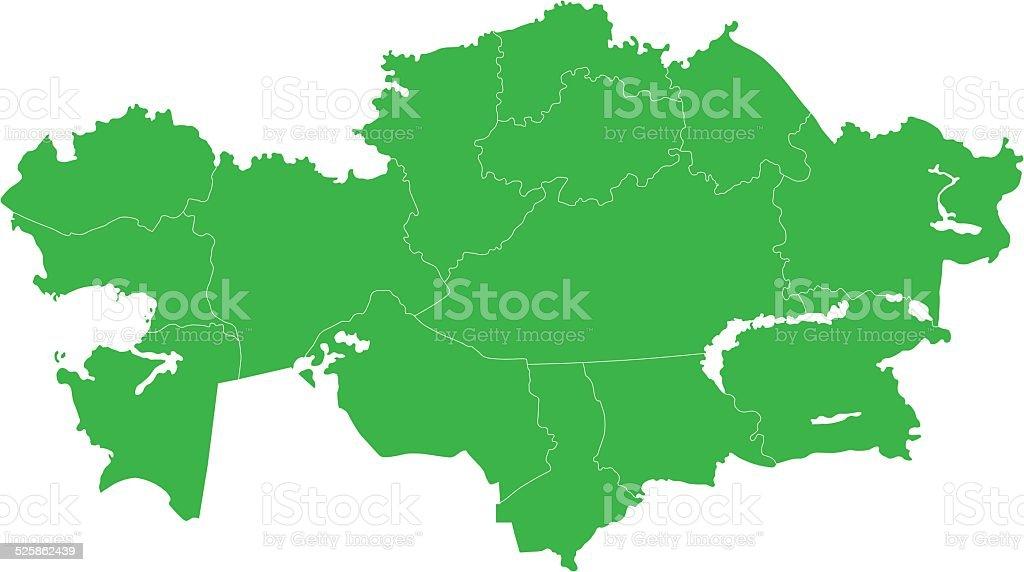 Green Kazakhstan Map Stock Vector Art More Images Of Almaty Istock