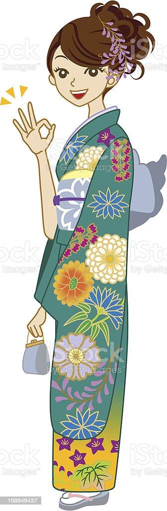 Green Kimono woman,OK Sign royalty-free stock vector art
