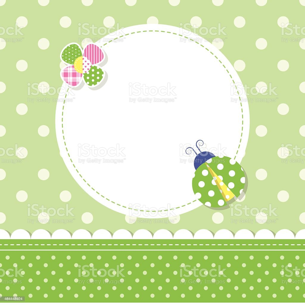 green ladybug baby boy greeting card vector art illustration