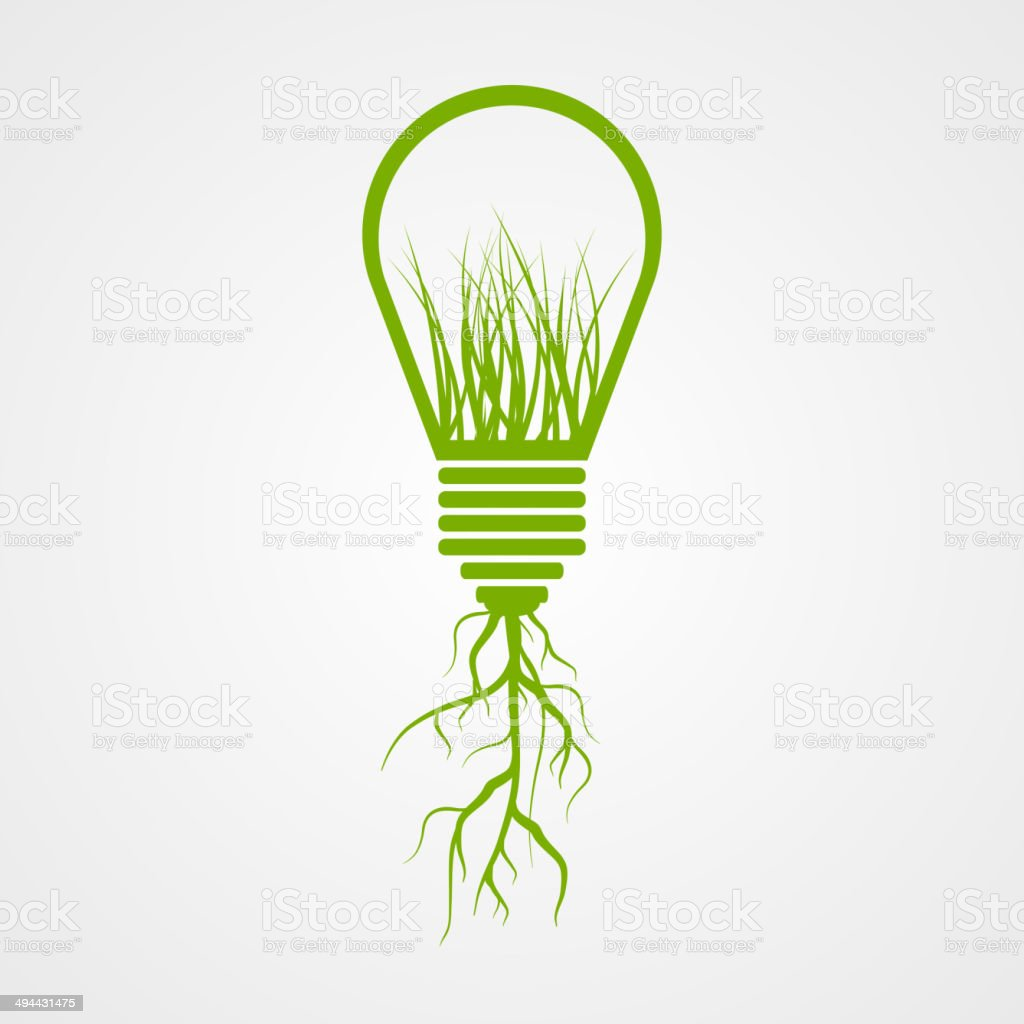 Green lamp ecology concept. vector art illustration