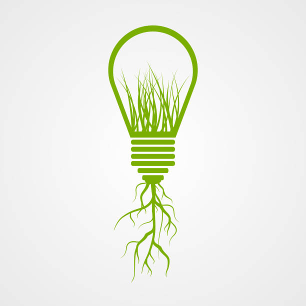Green lamp ecology concept. vector art illustration