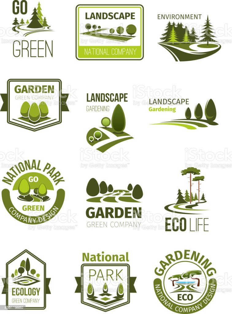 Attrayant Green Landscape And Gardening Company Vector Icons Royalty Free Green  Landscape And Gardening Company Vector