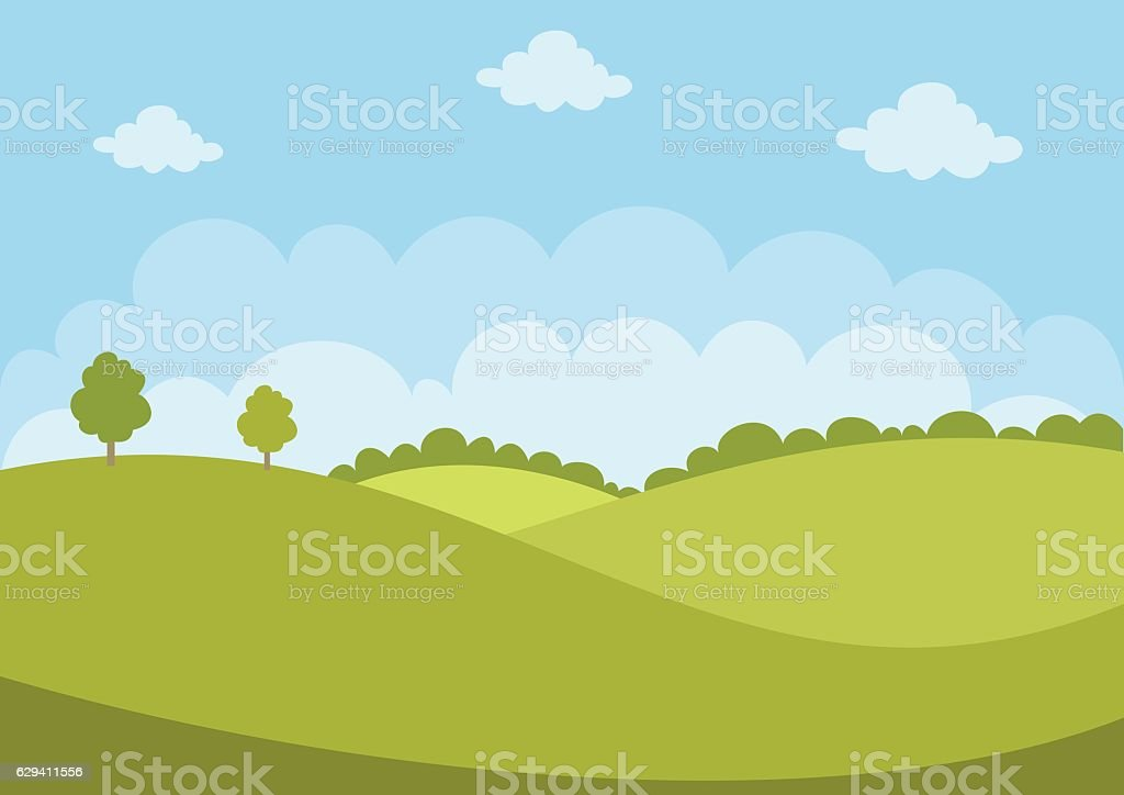 Green Landscape vector art illustration