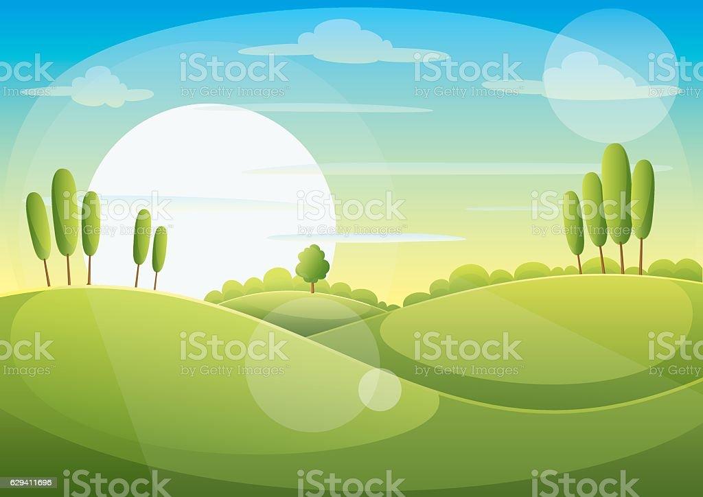 Green Landscape vector art illustration