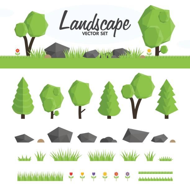 grüne landschaft-vektor-set - steinpfade stock-grafiken, -clipart, -cartoons und -symbole