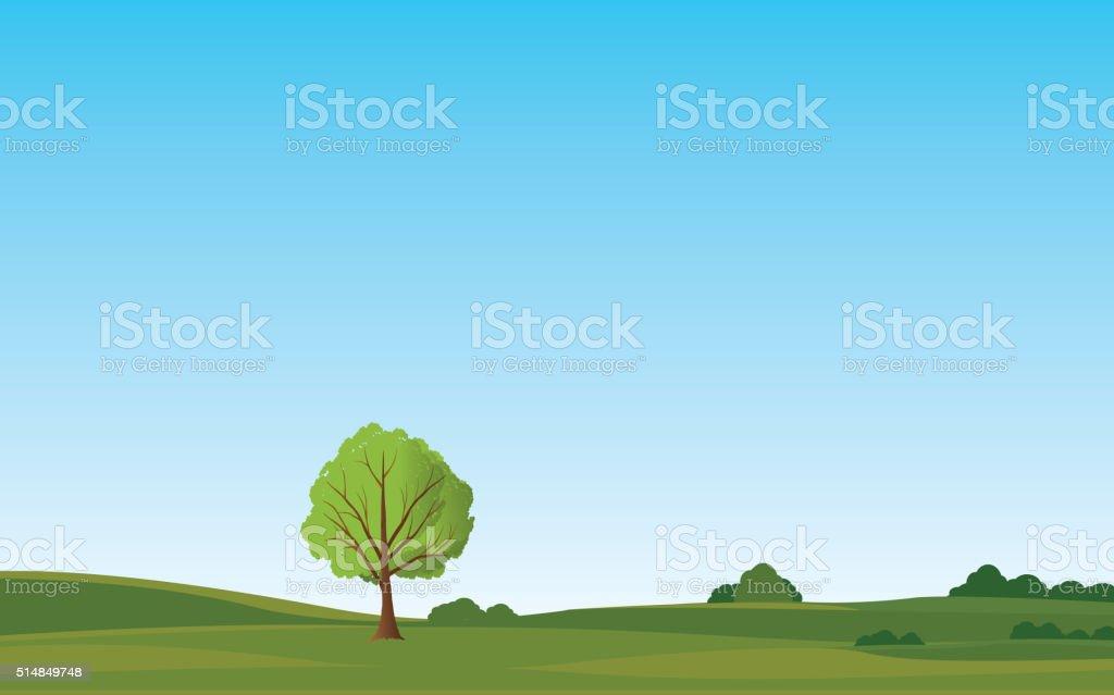 green landscape vector vector art illustration