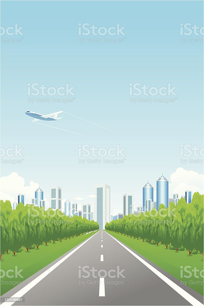 Green landscape with city and road vector art illustration