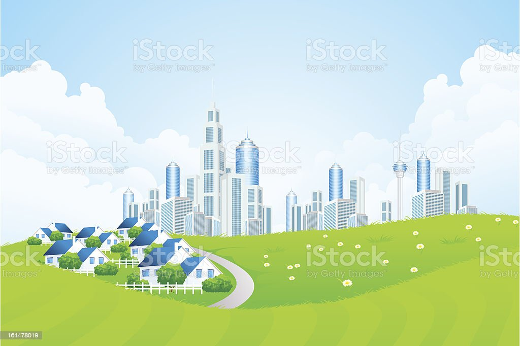 Green Landscape with City line and Cottage Village royalty-free stock vector art