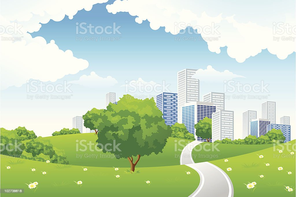 Green landscape with city royalty-free stock vector art
