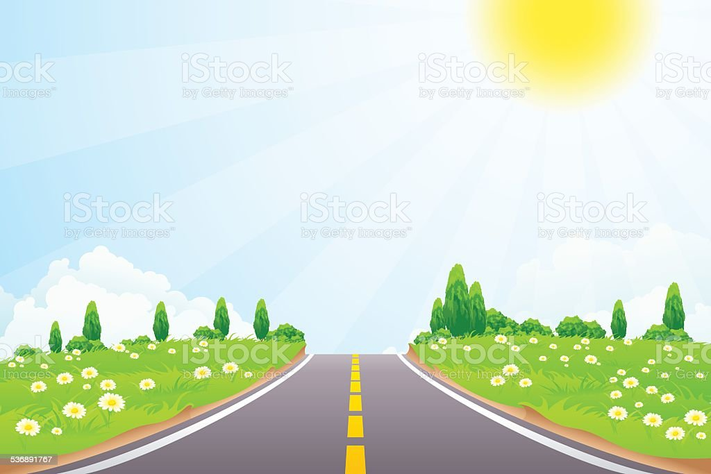 Green Landscape with trees and road vector art illustration