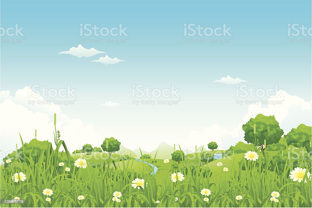 Green Landscape with trees royalty-free green landscape with trees stock vector art & more images of blue